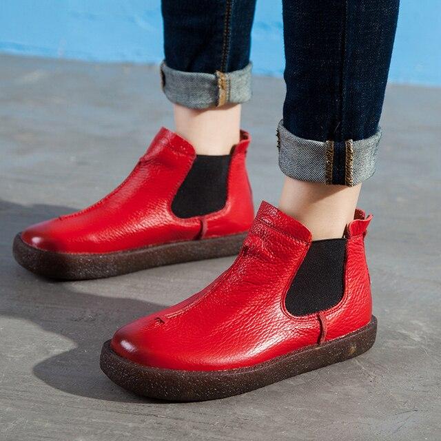 2020 femmes angleterre Style flambant neuf femmes en cuir véritable bottes plates chaussures pour dame automne bottines hiver rétro Martin bottes