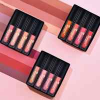 TEAYASON 4pcs/set Women's Fashion Liquid Lipstick Set Lipgloss Nude Makeup Matte Velvet Lip Glosses Red Natural Moisturizer
