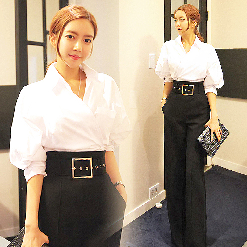 Spring Fashion Lady OL Style 2 Piece Set Women V Neck Designer Chic White Shirts And High Waist Trouser With Belt Clothes SL515