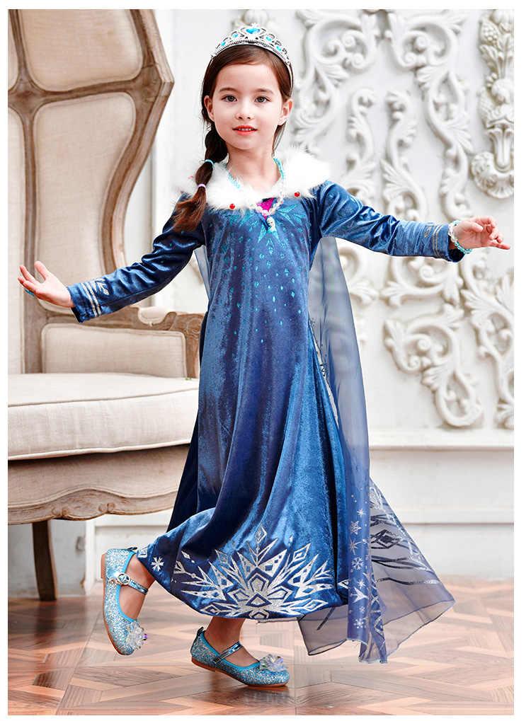 2020 kış Elsa elbise kız cadılar bayramı kız Cosplay parti elbise noel kostüm kızlar için prenses elbise çocuklar Anna elbise