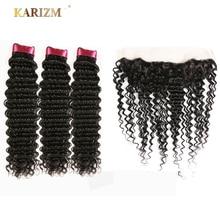 Karizma 毛インドディープウェーブヘアバンドルと閉鎖 4 個無料一部人毛エクステンションナチュラルカラー非レミーの髪織り