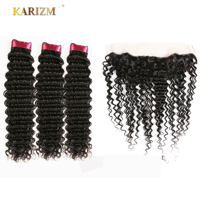 Karizma Hair อินเดียลึกมาพร้อมกับ 4 PCS ฟรีมนุษย์ธรรมชาติสี Non Remy ผมทอผ้า