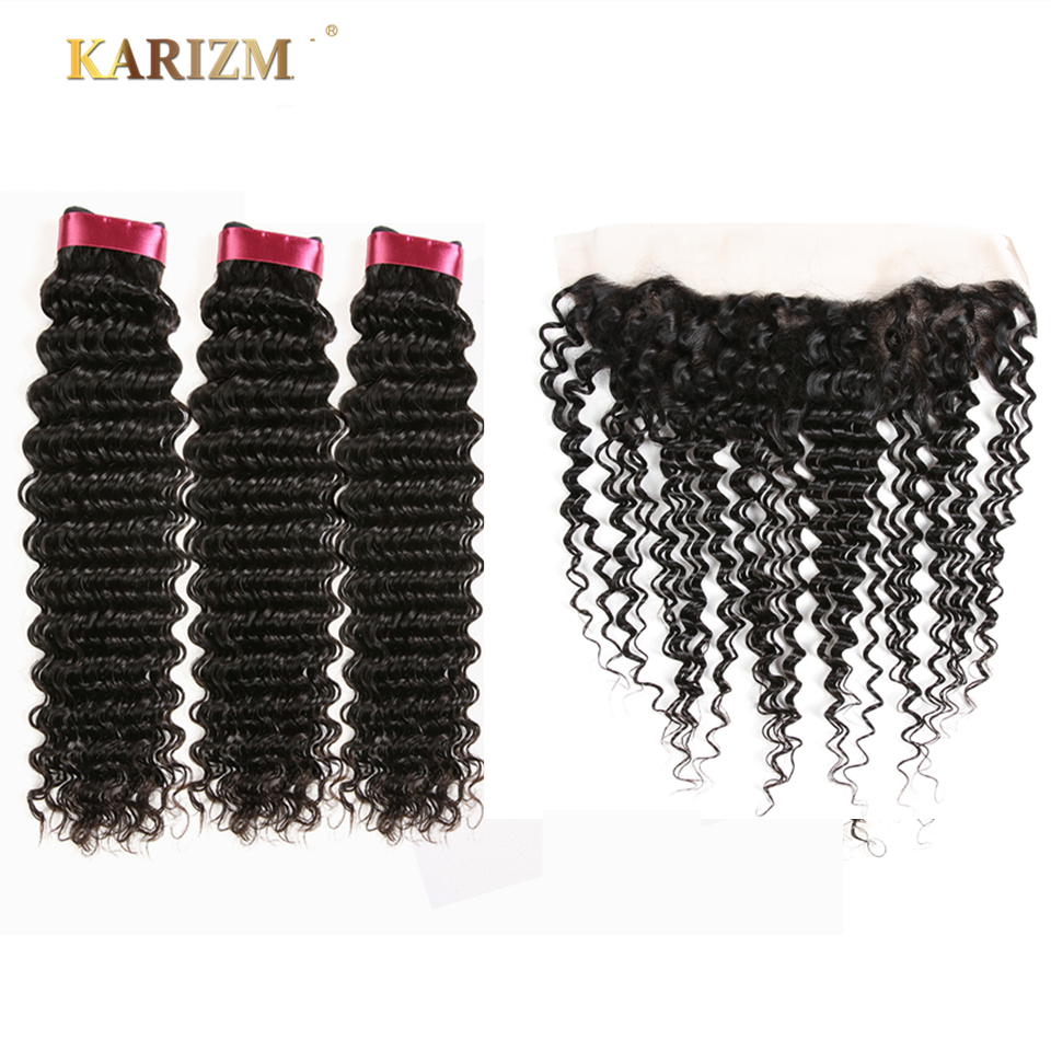Karizma Hair Indian Deep Wave Bundles With Closure 4 PCS Free Part Human Hair Extensions Natural Color Non Remy Hair Weaving