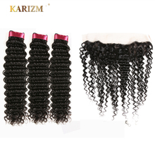 Karizma Hair Indian Deep Wave Bundles With Closure 4 PCS Free Part Human Hair Extensions Natural Color Non Remy Hair Weaving
