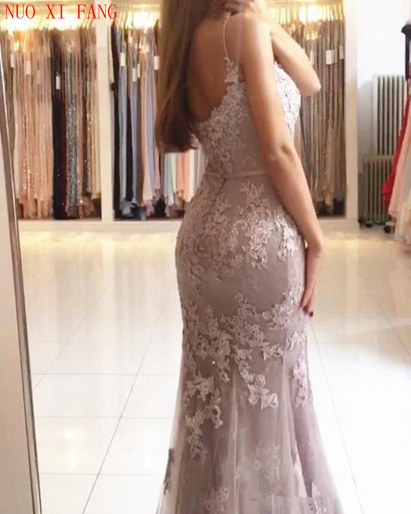 NUOXIFANG Glamorous Sweetheart Spaghetti Straps Mermaid Evening Dresses Elegant Lace Appliques Prom Party Dresses Formal Dresses