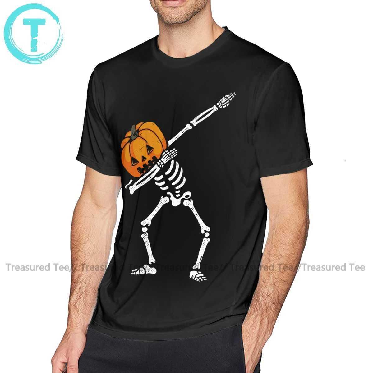 Футболка в стиле хип хоп на Хэллоуин футболка с изображением тыквы и скелета