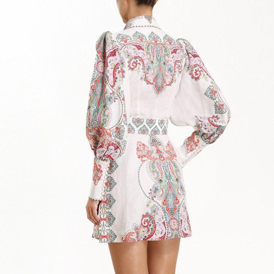 2019 Newest Women Mini Dress High Quality Long Sleeve Vintage Dress Women Vestidos Flower Printed Puff Sleeve Sexy Dress