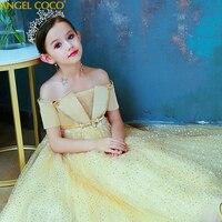 Children's Dresses For Girl 2019 Girls Clothing Yellow sequins Princess Party Dress Elegant Ceremony Teenage Girl Costume