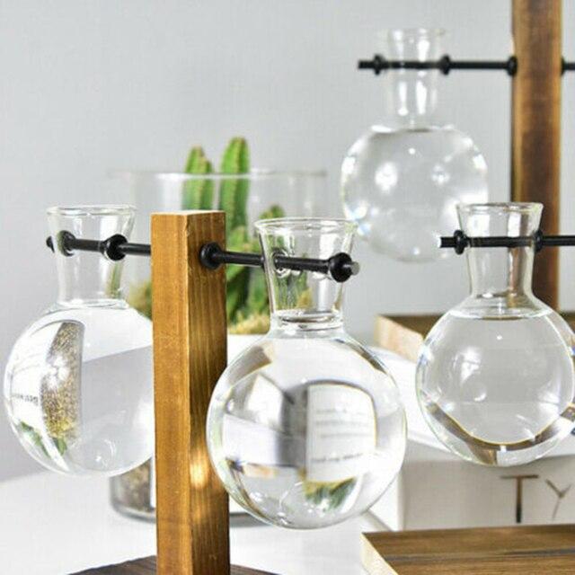 1Set Glass Vase Home Garden Glass Hydroponic Container Table Desktop Transparent Glass Bulb Vase Flower Pot Home Decor 4
