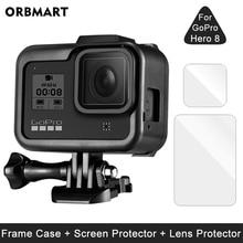 إطار ل GoPro بطل 8 الأسود حامي الشاشة الزجاج المقسى واقية عدسة فيلم غطاء جبل ل الذهاب برو 8 اكسسوارات