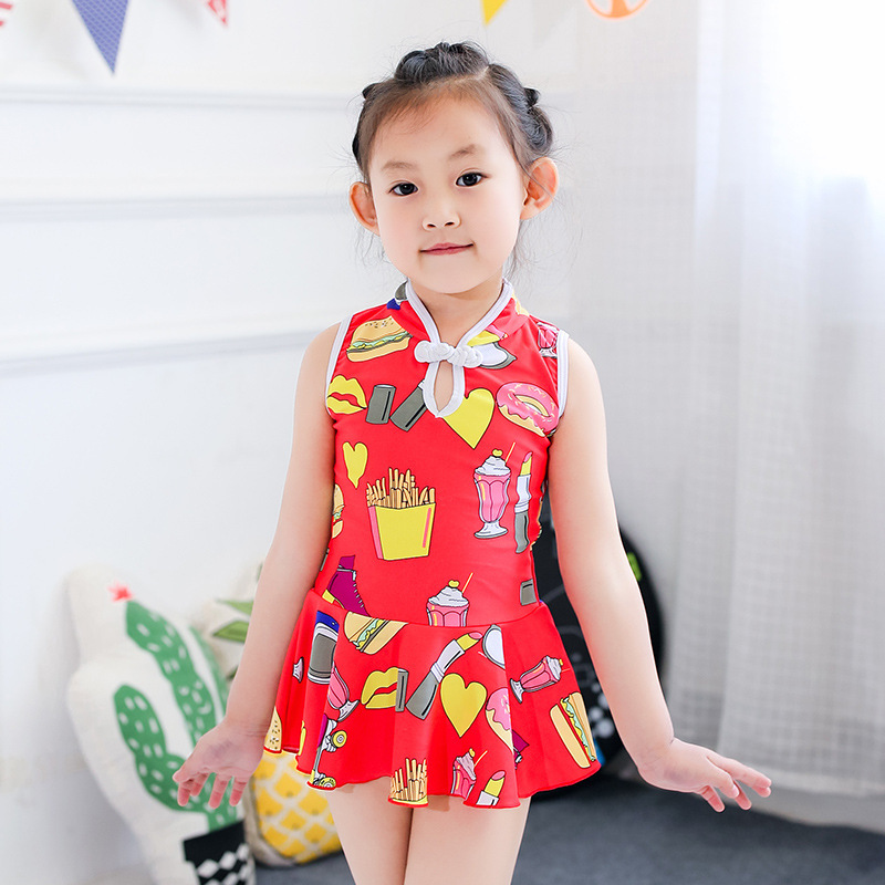 2017 New Style Retro Small Cheongsam One-piece Swimsuit For Children Girls Split Type Two-Piece Set Children Bathing Suit Beachw