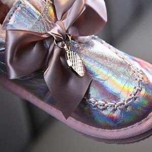 Image 4 - Kinder Schnee Stiefel 2020 Koreanischen Winter Mädchen Fühlte Warme Prinzessin Laser Leder Plüsch Bogen Stiefel Lächeln Wasserdichte Schuhe Mädchen Footware