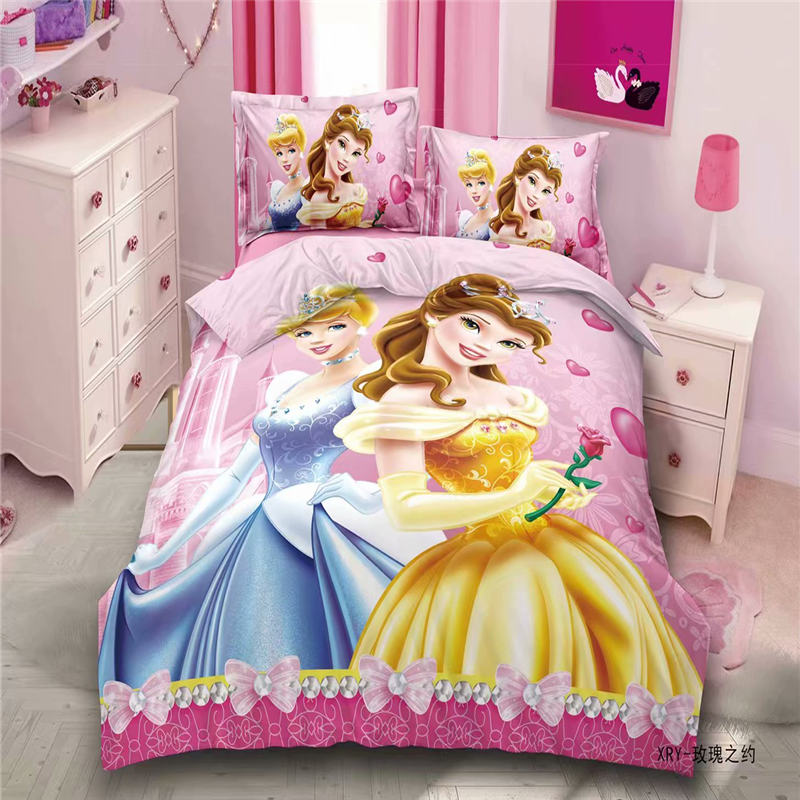 Pink Disney Princess Bedding Set For Kids Bedroom Decor Twin Quilt Duvet Cover Set Single Bed Sheet Girls Home Children 2-4 Pcs