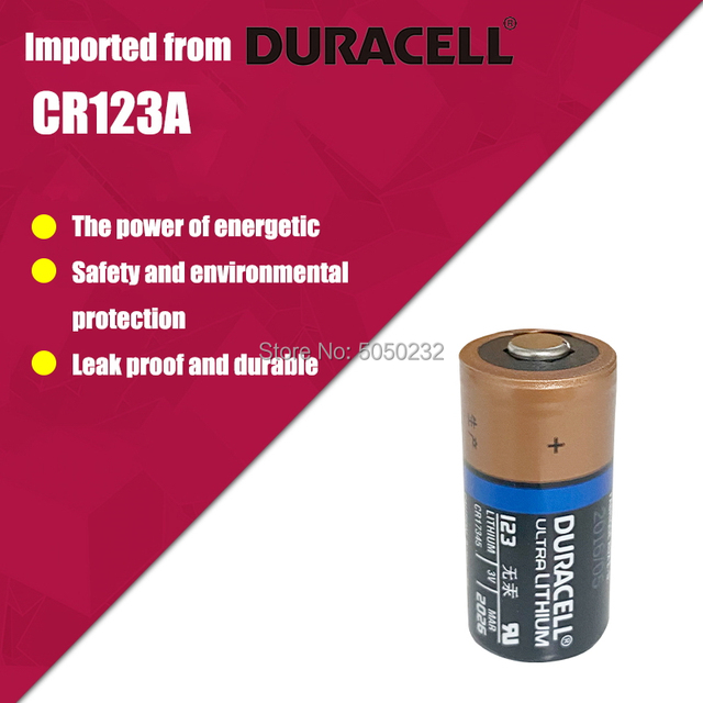 12PC NEW Original DURACELL Lithium battery 3v 1550mah CR123 CR 123A CR17345 16340 cr123a dry primary battery for camera meter