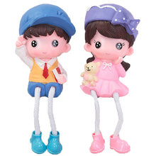 2pcs of One Set Creative Doll Crafts Adorable Ornament Colorful Resin Handicraft Delicate Layout for Home Office Room Desktop(China)