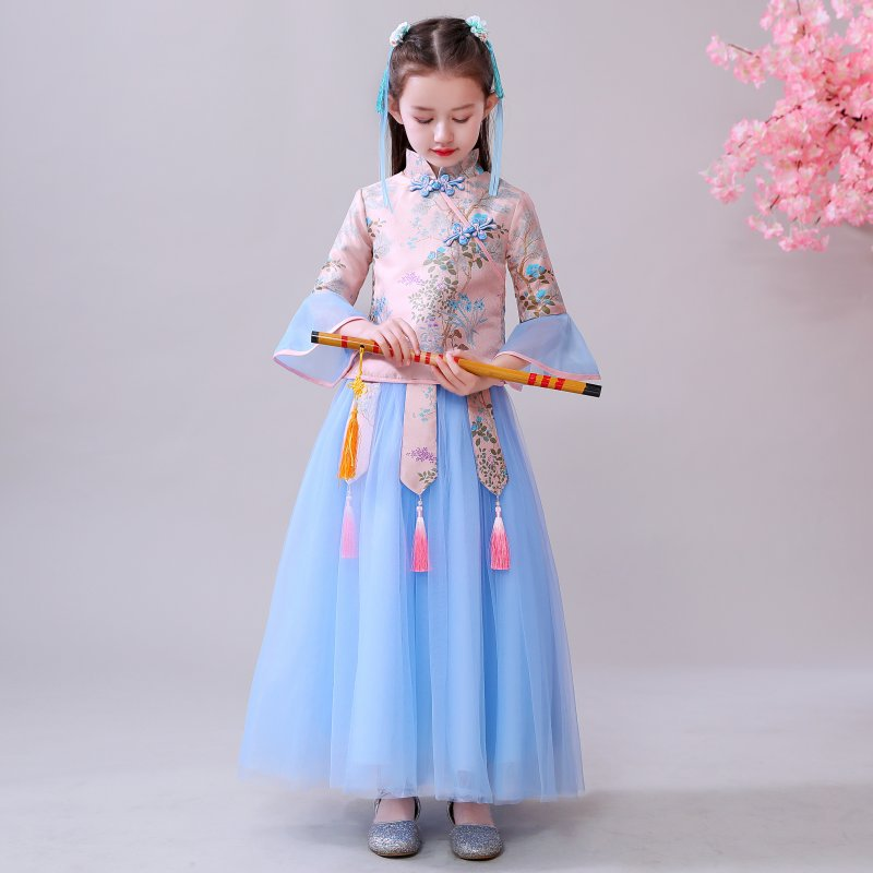2019 Autumn & Winter Girls Cheongsam Chinese Clothing Chinese-style Improved Cheongsam CHILDREN'S Dress Ancient Performance Set