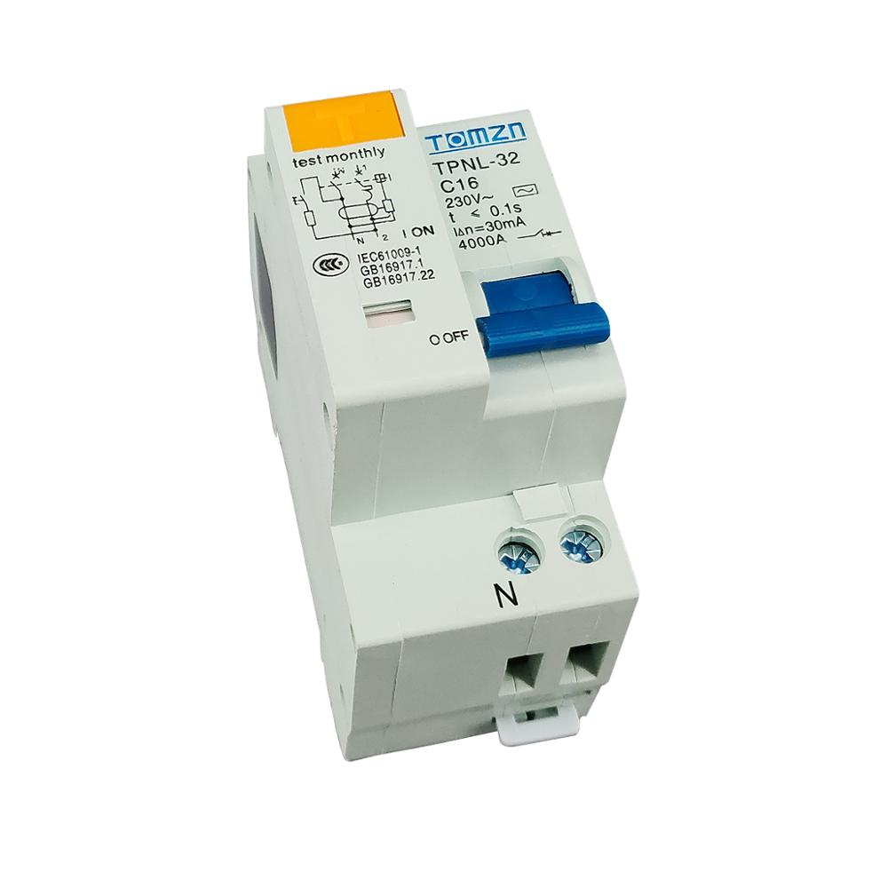 TPNL DPNL 230V 1P+N Residual current Circuit breaker with over and short current  Leakage protection RCBO MCB 1
