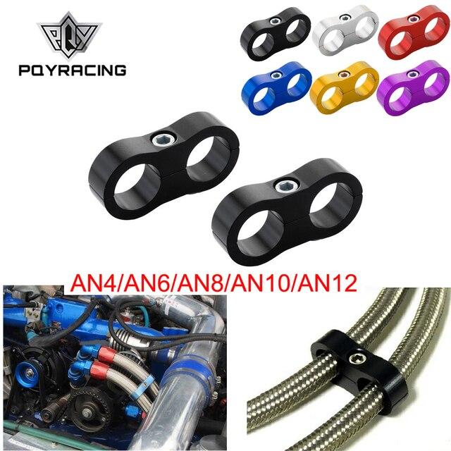 PQY   1Pcs Universal AN4 AN6 AN8 AN10 AN12 Billet Öl Kraftstoff Wasser Schlauch Rohr Seprator Teiler Clamp aluminium linie separator