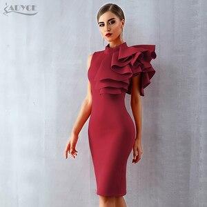 Image 1 - Adyce 2020 yeni yaz kadın kırmızı beyaz ünlü pist parti elbise Vestido seksi kolsuz Ruffles Bodycon Midi gece kulübü elbise