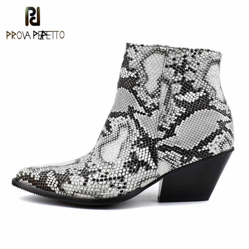 Prova Perfetto Yılan Derisi Kadın Çizmeler Sivri Burun Takozlar Ayakkabı Sonbahar Kış Çizmeler Kısa Bayanlar Batı yarım çizmeler Kadınlar için