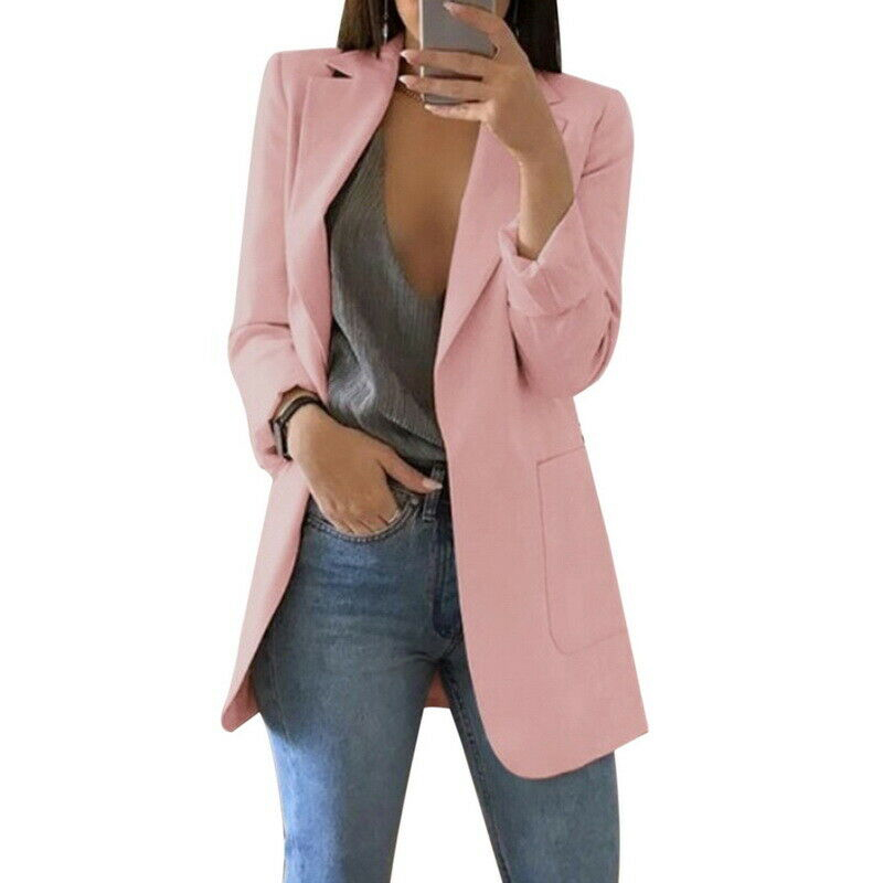 Newly Women Blazers Coats Casual Slim Business Blazer Suit Female Coat Office Ladies Jacket Solid Color Female Outwear DO99
