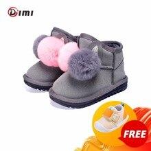 DIMI 2020 stivali da bambina invernali coniglio palla per capelli neonato scarpe in cotone per bambini stivali da neve per bambini in peluche caldi antiscivolo per ragazza