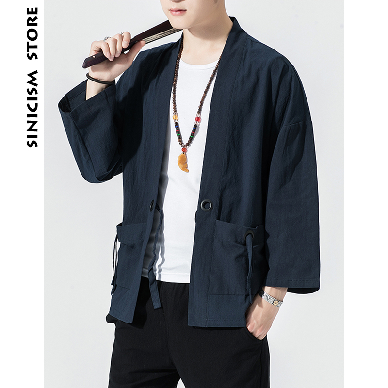 Sincism Store Men Summer Kimono Jackets 2020 Japanese Vintage Man Cardigan Coats With Belt Plus Size Male Jacket Clothes 1