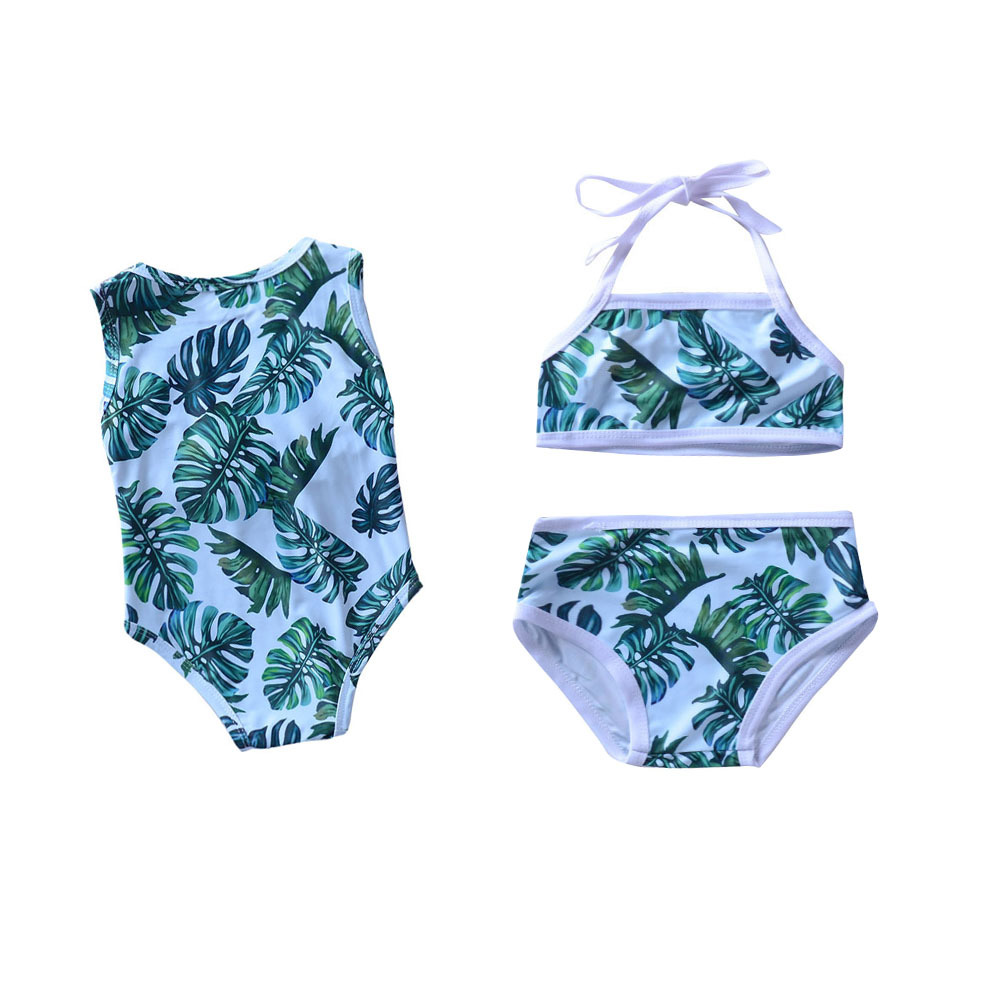 Childrenswear Summer New Style KID'S Swimwear Leaf Printed GIRL'S Swimsuit