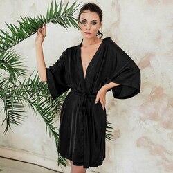 Hiloc sólido sexy roupão de banho para mulher sleepwear cetim três quartos manga preto de seda robe com faixas casa robe camisola de inverno