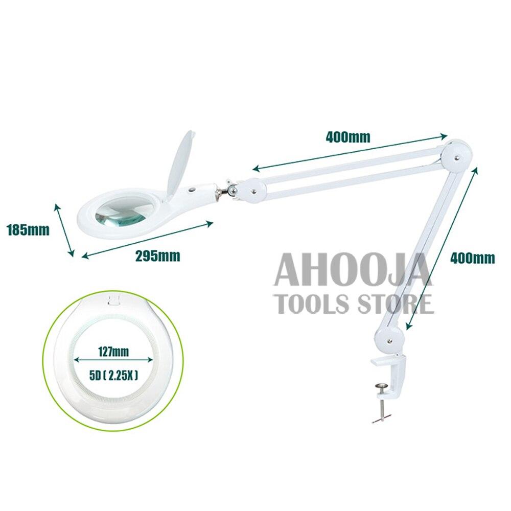 Pro'sKit 2.25X Регулируемая увеличительная Рабочая лампа клип на столешнице стол 90 светодиодный светильник для чтения большие линзы с подсветкой... - 5