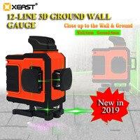 Xeast XE-62G 3d alta precisão feixe verde 12 linhas de nível laser auto nivelamento automático 360 vertical & horizontal vara parede