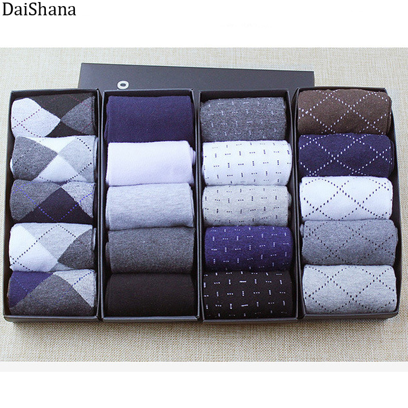 5 Pairs High Quality Casual Business Cotton Socks Solid Color Elastic Socks For Spring Autumn Male Breathable Socks For Man Gift