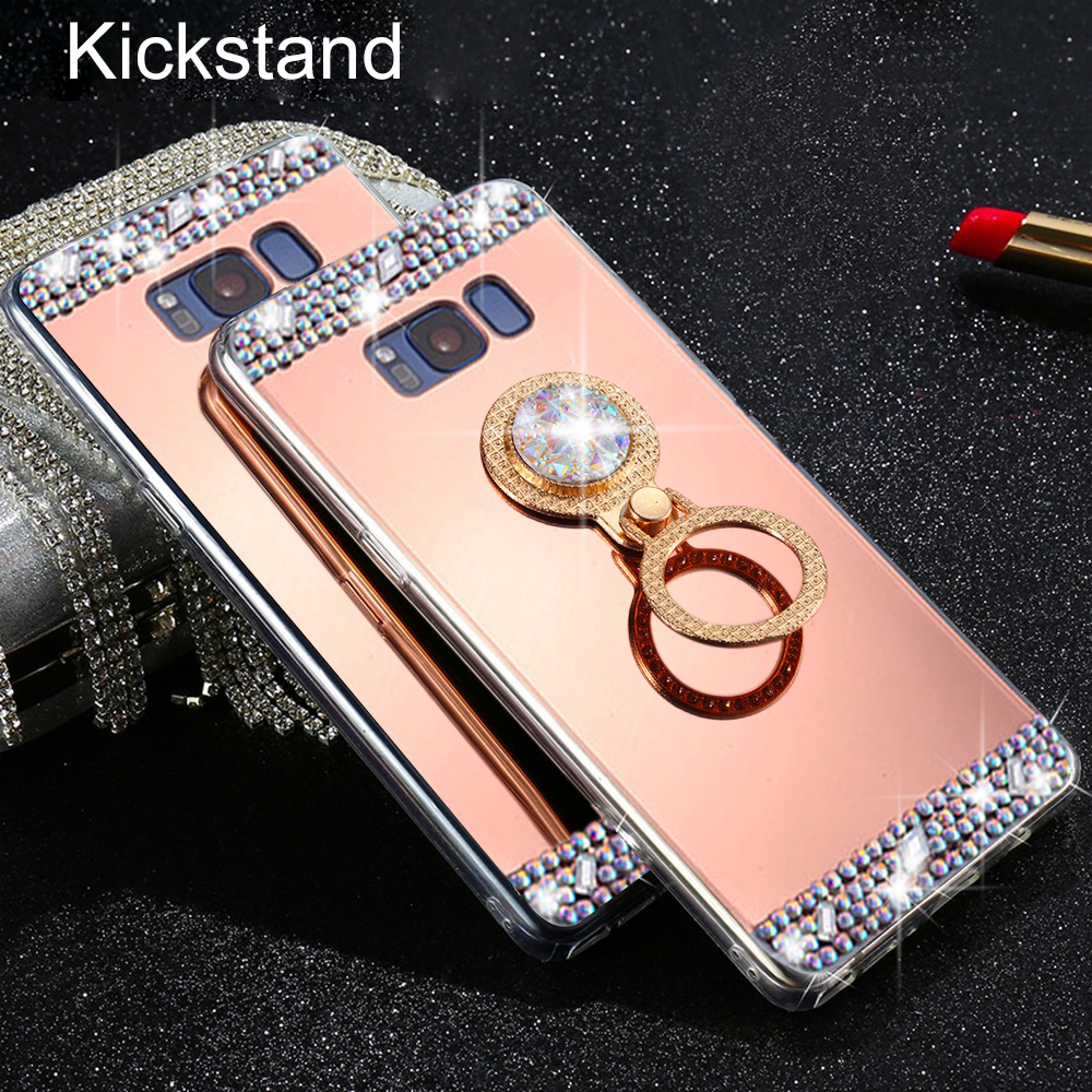 LLZ.COQUE Luxury 3D Glitter Mirror Kickstand Holder Case or Samsung A3 A5 A6 A8 J3 J4 J5 J6 PLUS 2017 2018 Hard Back Capas Cover