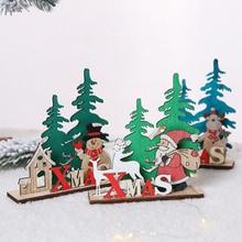 New Year Christmas Decoration Wooden Ornaments Santa Claus Snowman Deer Home Xmas Party Desktop Ornament