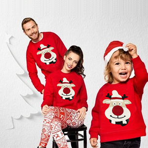 2020 New Family Matching Children Clothing Christmas Sweaters Deer Print Family Parent-child Suit Printing Cotton Sweater