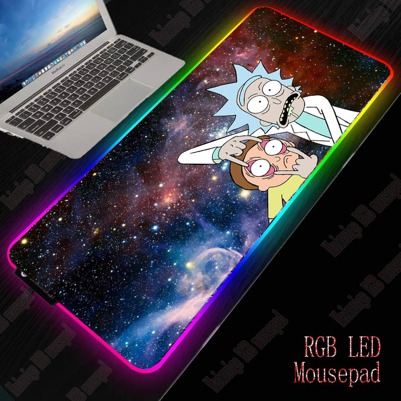 XGZ Rick And Morty Colorful Gaming RGB LED Light Backlight Mouse Mat Computer Mousepad Anime  Large Mouse Pad Keyboard Desk Mat