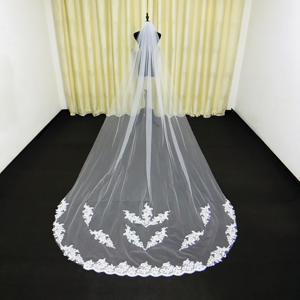 Real Photos 3M Cathedral Wedding Veils Custom Made Lace Applique Tulle Bridal Veil Wedding Veil Wedding Accessories