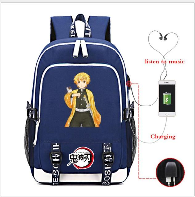 Demon Slayer Kimetsu no Yaiba Travel USB Port Capacity School Bag