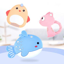 Food Grade Baby Silicone Teethers BPA Free Teething Toy Rodent Animal Cat Fish Baby Ring Teether Silicone Beads DIY Chain Kids(China)