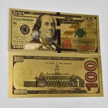 NEW 100 Dollar Bills Fake Money 24K Gold Plated Dollars Decoration Gifts America  gift banknotes