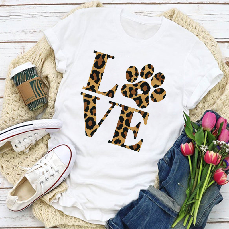 Women Graphic Leopard Dog Paw Letter Printed Fashion Summer Shirt T-Shirt Womens Clothing Tops Lady Clothes Tee Female T Shirt