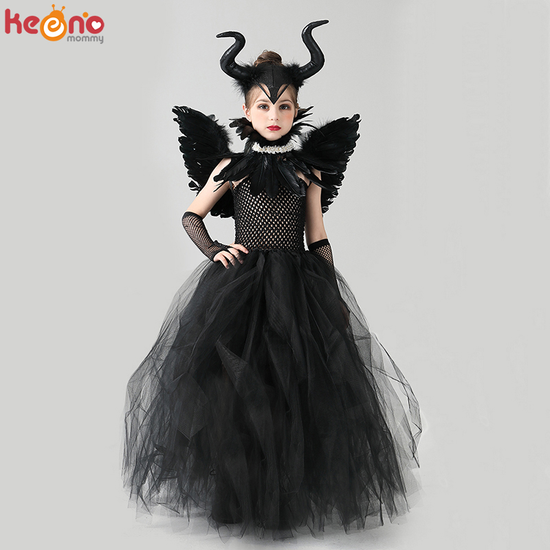 Disguise Girls Deluxe Maleficent Black Gown Halloween Costume Gothic Dark Witch Queen Girls Tutu Dress with Feather Cape Shawl