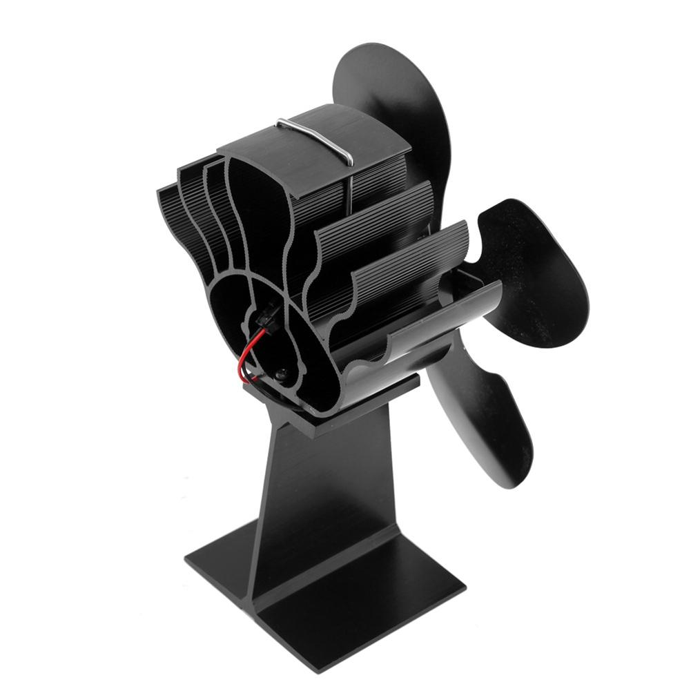 New 4-bladed Thermal Power Fireplace Fan Heat Powered Wood Stove Fan For Wood/Log Burner /Fireplace Eco Friendly Four-leaf Fans