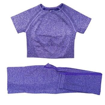 Seamless Women Vital Yoga Set Workout Shirts Sport Pants Bra Gym Clothing Short Crop Top High Waist Running Leggings Sports Set 29