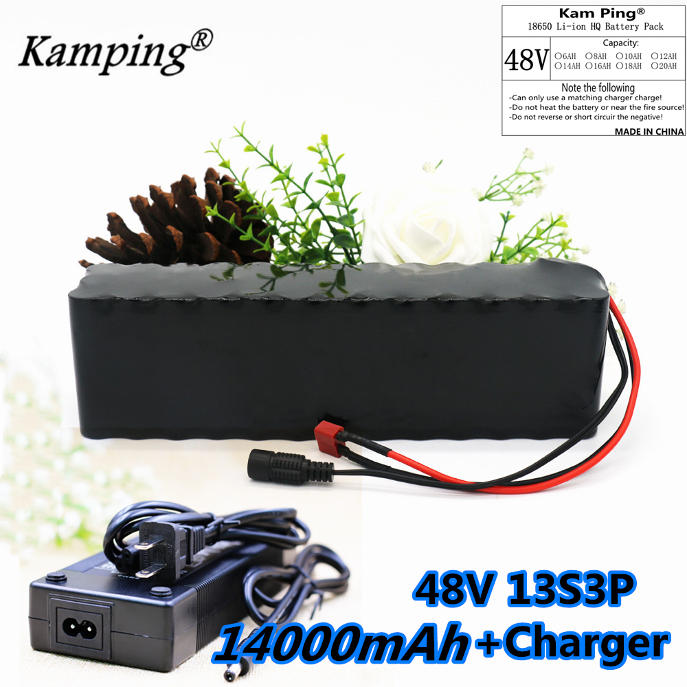 <font><b>48v</b></font> 14Ah <font><b>1000w</b></font> 13S3P Lithium ion <font><b>Battery</b></font> Pack For 54.6v E-bike Electric bicycle Scooter with 30A discharge BMS + <font><b>48V</b></font> 2A Charger image