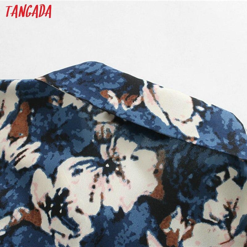 Женское винтажное платье-рубашка Tangada, платье миди с длинным рукавом и разрезом, новинка 2020