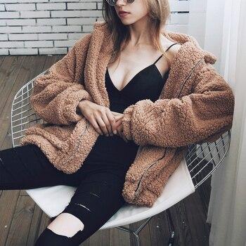 Automne hiver fausse fourrure manteau femmes 2020 décontracté chaud doux fermeture éclair fourrure veste en peluche pardessus poche grande taille Teddy manteau femme XXXL 1