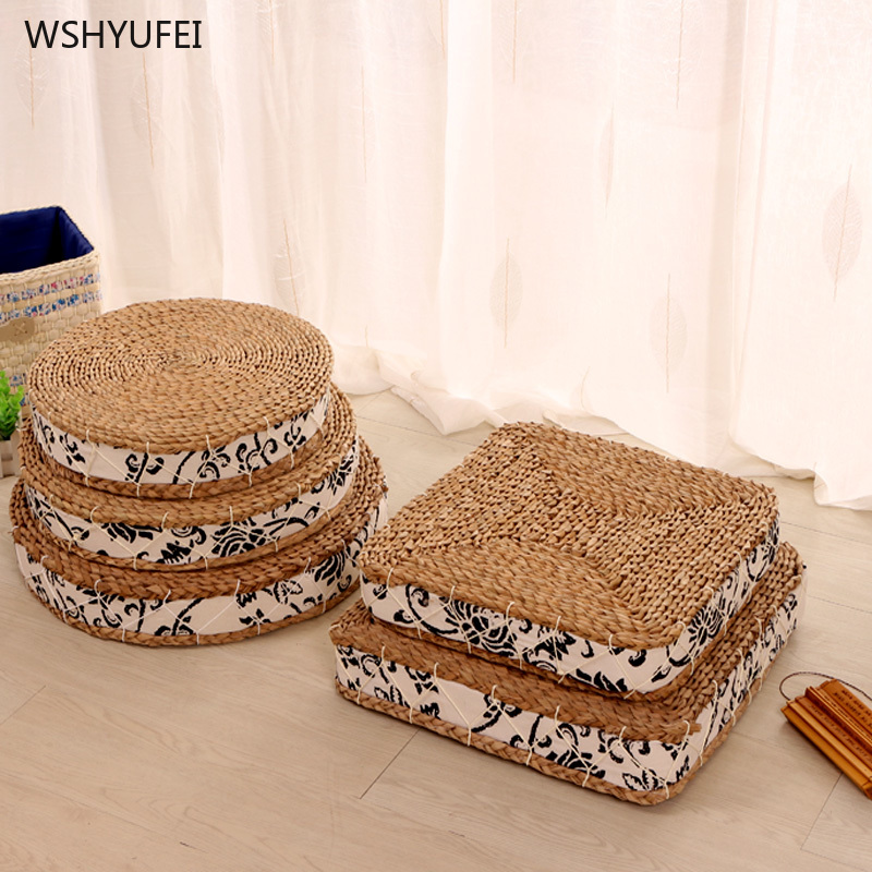 Straw Yoga Mat Zen Sitting Sponge Cushion Rattan Thickening Worship Buddha Meditating Cushion Tatami Bay Window Straw Futon