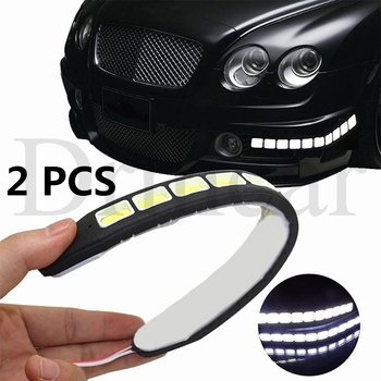 1pair 26CM White Car Bendable DRL Driving Fog Light 10 LED Flexible Daytime Running Light Lamp DC 12V newest 12v 6000k led drl daytime running light for mazda3 mazda 3 axela 2014 2015 2016 fog lamp frame fog light car styling
