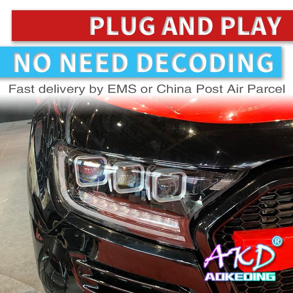 AKD Tuning Cars Headlight For Ford Ranger Everest Endeavour Must Headlights LED DRL Running Lights Bi-Xenon Beam Fog Lights